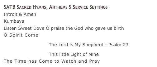 SATB Sacred Hymns, Anthems $ Service Settings